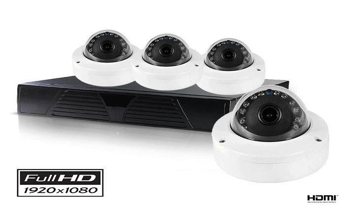 Set sa 4 kamere dome IP FULL HD